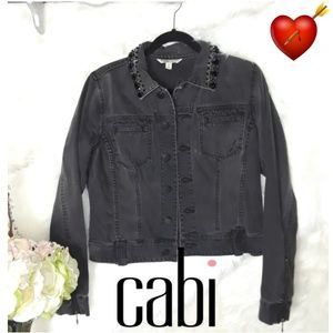 Cabi Gray/Black Detailed Jean Jacket Medium